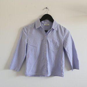 BABATON Oxford Twill Striped Button Down Blouse